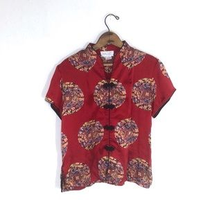 Vintage Silk Red Oriental Print Blouse